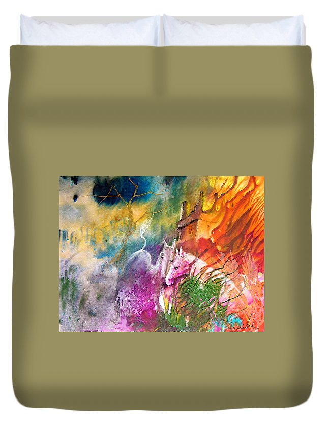 Love Duvet Cover featuring the painting Hearts In Fire by Miki De Goodaboom