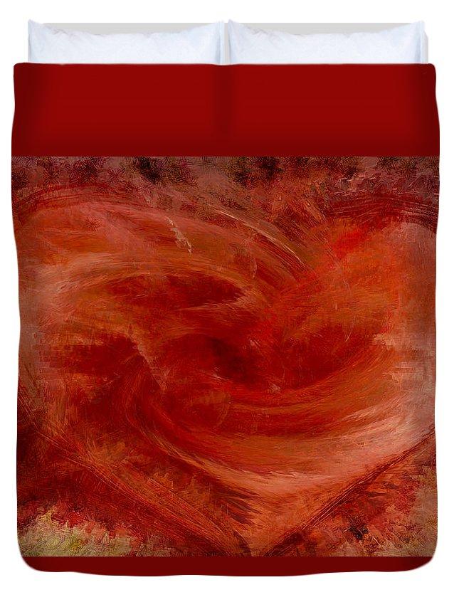 Heart Art Duvet Cover featuring the digital art Hearts Of Fire by Linda Sannuti