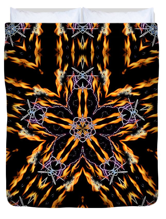 Kaleidoscope Duvet Cover featuring the digital art Hearts On Fire by Thomas MacPherson Jr