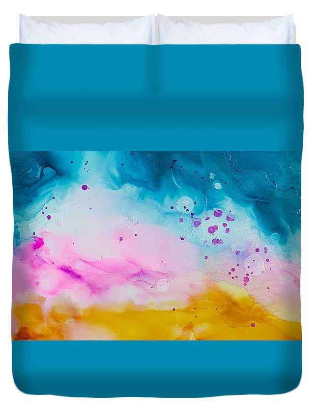 Abstract Duvet Cover featuring the painting Heat Wave - A by Sandy Sandy