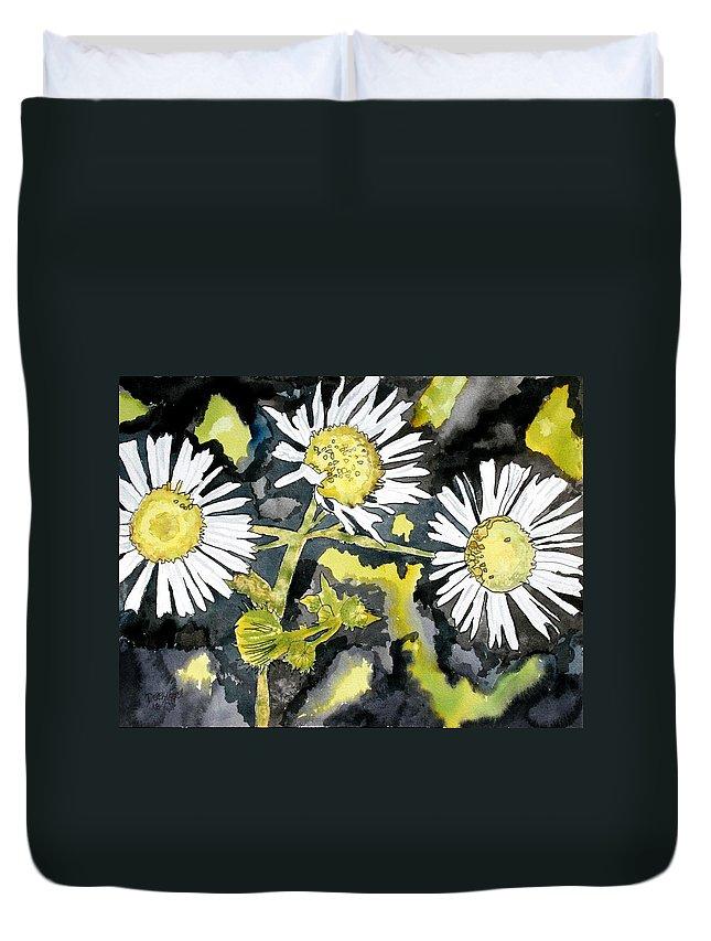 Wildflower Duvet Cover featuring the painting Heath Aster Flower Art Print by Derek Mccrea