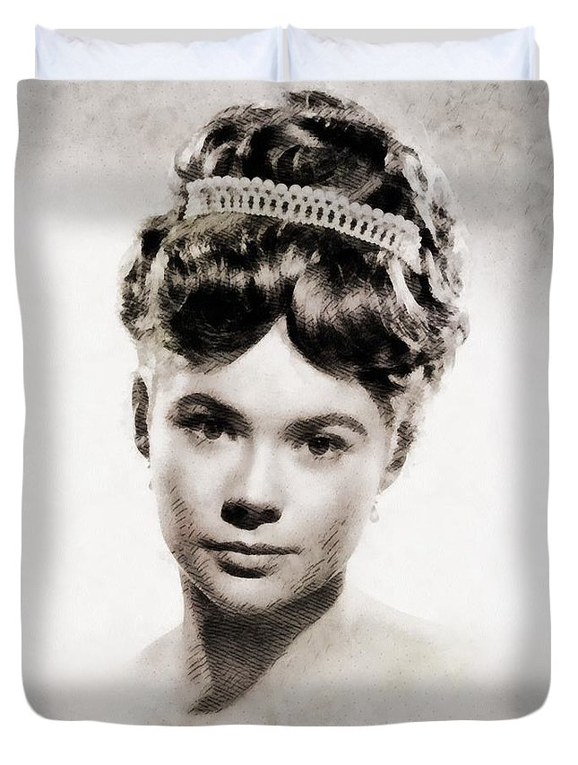 Hollywood Duvet Cover featuring the painting Heather Sears, Vintage Actress by John Springfield