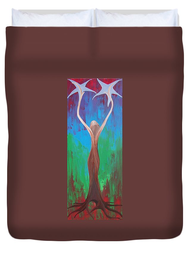 Heaven And Earth Duvet Cover featuring the painting Heaven And Earth Energy Collection by Catt Kyriacou