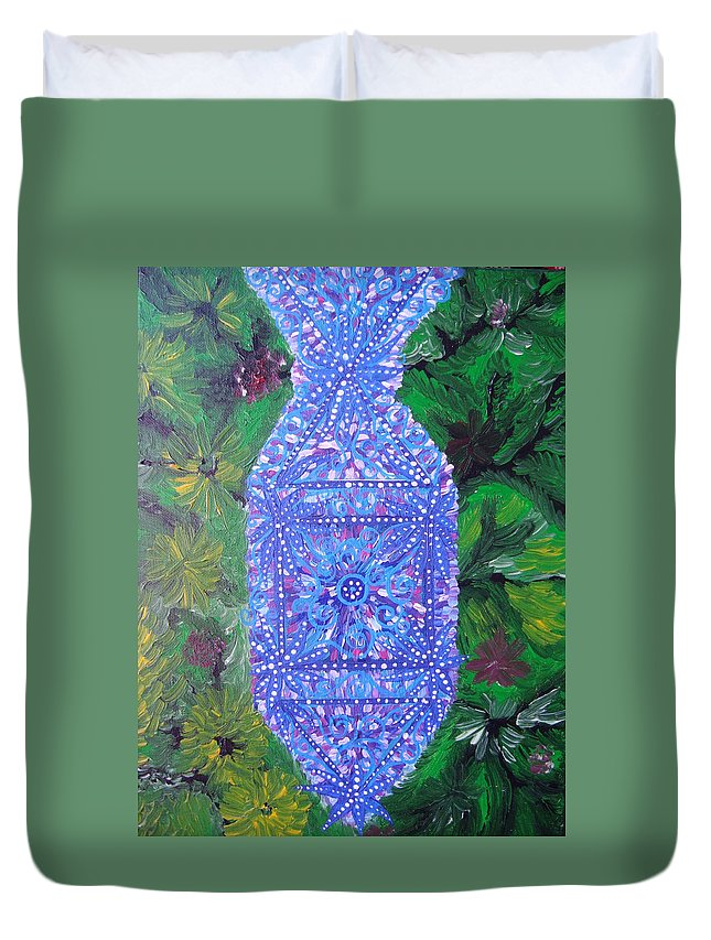 Ancient Symbol Duvet Cover featuring the painting Heaven-earth Connection by Joanna Pilatowicz