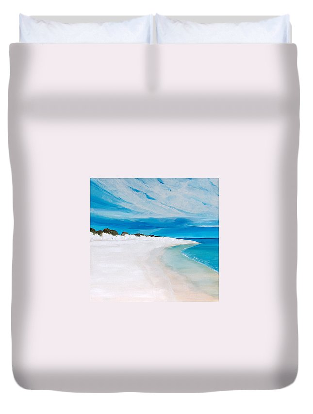 Beach Duvet Cover featuring the painting Heaven by Racquel Morgan