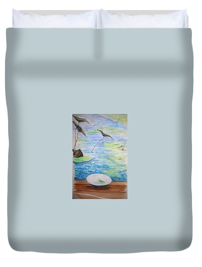 Feng Shui Study Duvet Cover featuring the painting Heaven Sent Gentle Rain by Lizzy Forrester