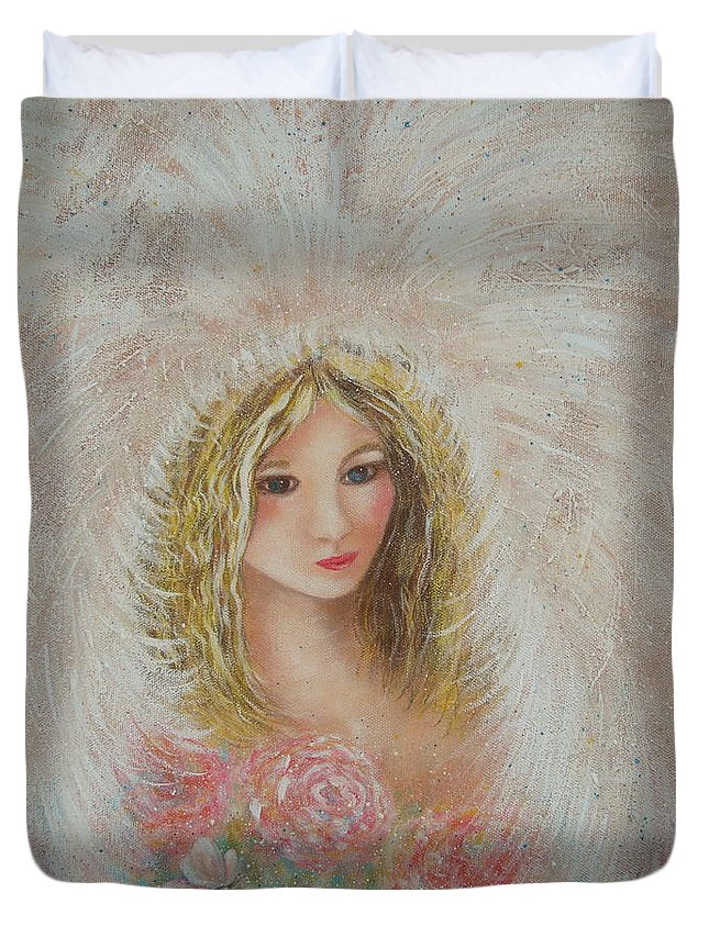 Angel Duvet Cover featuring the painting Heavenly Angel by Natalie Holland