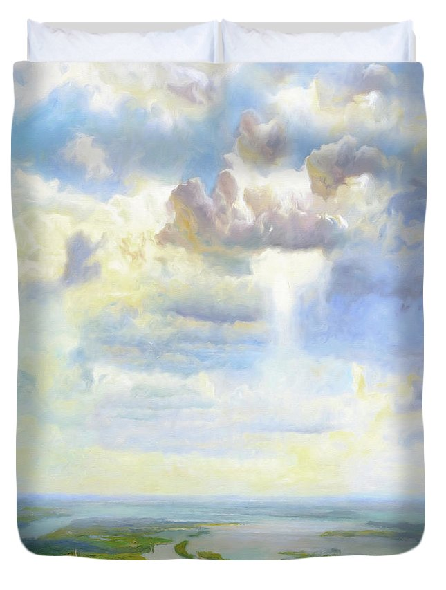 Heavenly Clouded Beauty Duvet Cover featuring the painting Heavenly Clouded Beauty Abstract Realism by Georgiana Romanovna