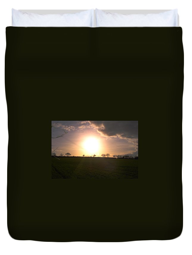Sunset Duvet Cover featuring the photograph Heavenly Sunset Over Suffolk by Susan Baker