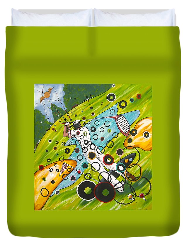 Golf Duvet Cover featuring the painting Heavenly Swing by V Boge