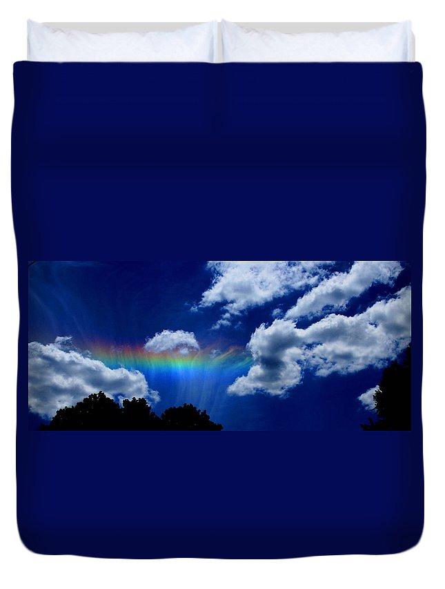 Heavens Rainbow Duvet Cover featuring the photograph Heavens Rainbow by Linda Sannuti