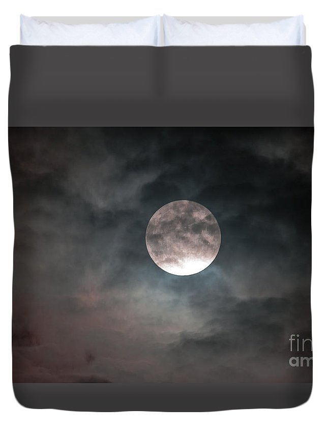 Blue Moon Duvet Cover featuring the photograph Heaven's Work by Sandy Molinaro