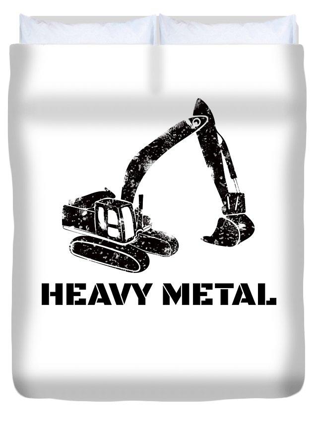 Backhoe-bulldozer Duvet Cover featuring the digital art Heavy Metal Digger Funny Cute Backhoe Bulldozer Black by Henry B
