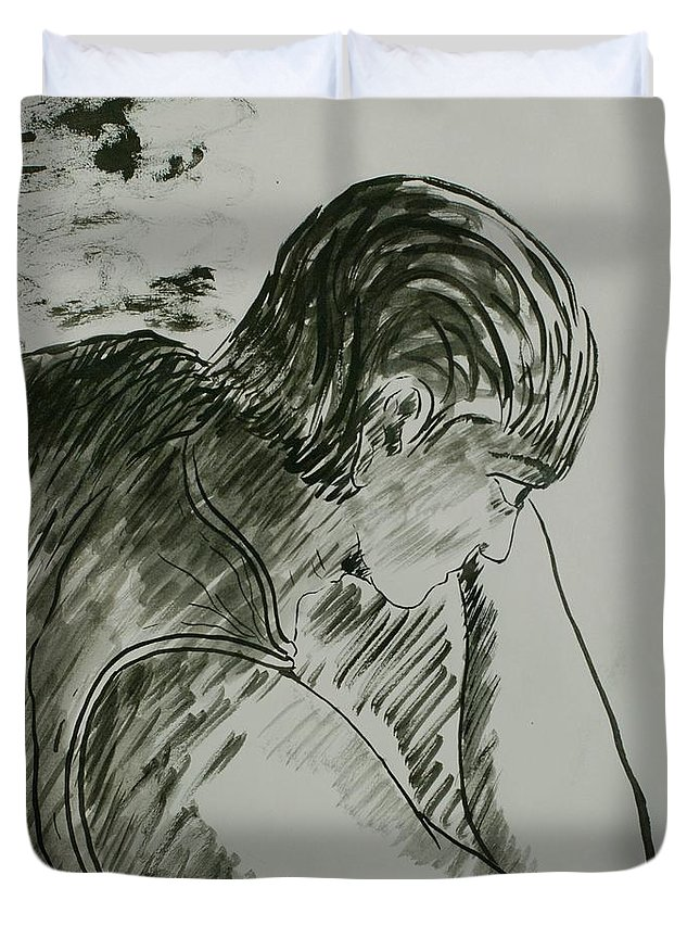 Figure Painting Duvet Cover featuring the painting Heavy Shadows Part 1 by Pushpak Chattopadhyay