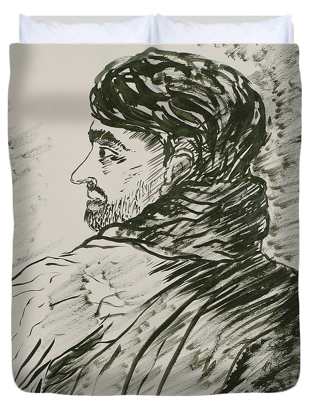 Figure Painting Duvet Cover featuring the painting Heavy Shadows Part 2 by Pushpak Chattopadhyay