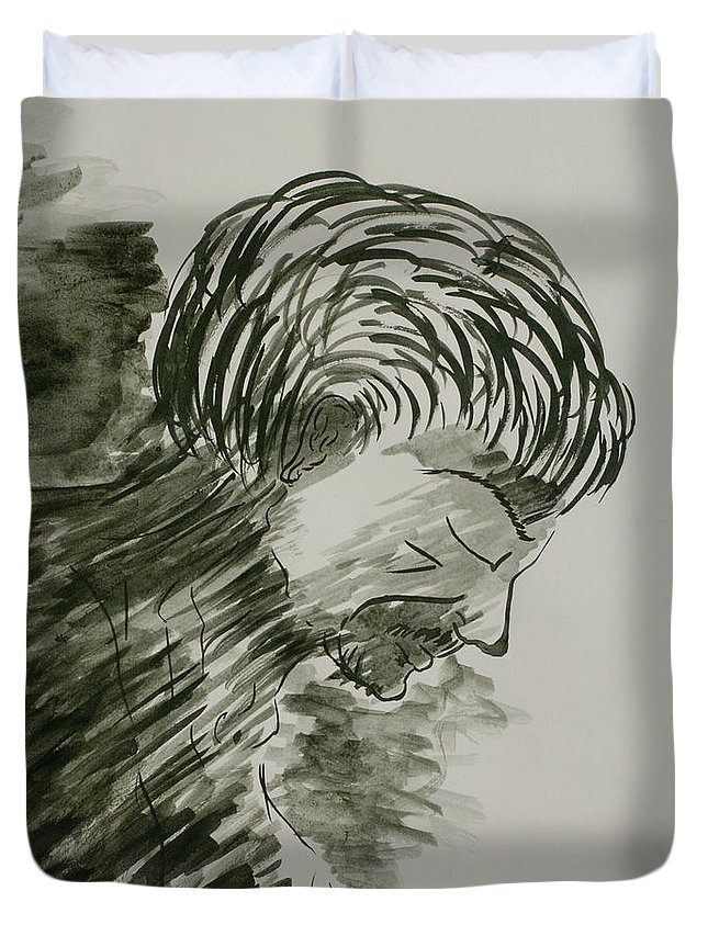 Figure Painting Duvet Cover featuring the painting Heavy Shadows Part 6 by Pushpak Chattopadhyay