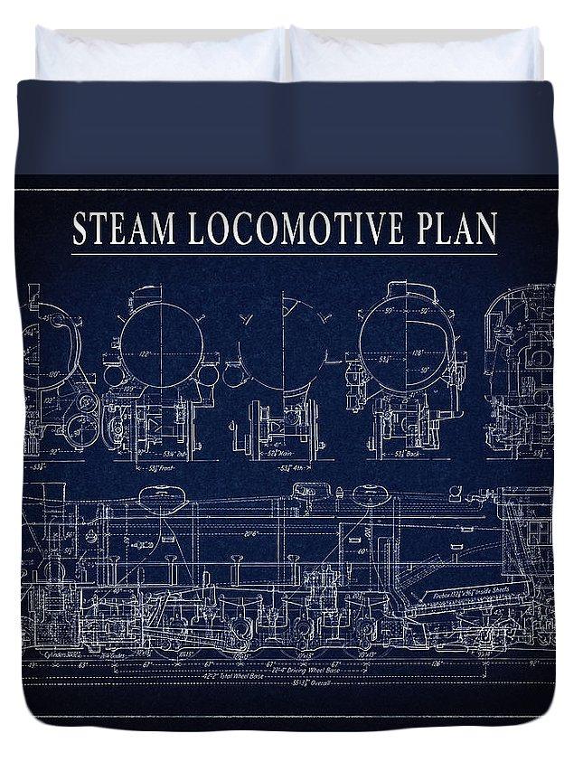 Locomotive Duvet Cover featuring the digital art Heavy Steam Locomotive Blueprint by Daniel Hagerman