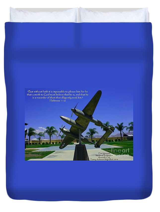 Scripture Duvet Cover featuring the photograph Hebrews 11-6 by Tommy Anderson