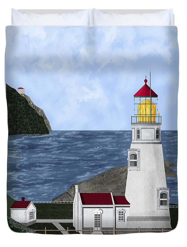 Lighthouse Duvet Cover featuring the painting Heceta Head Oregon by Anne Norskog
