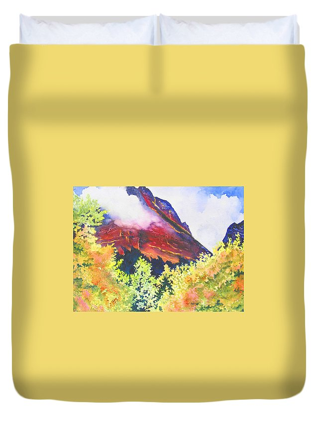 Mountain Duvet Cover featuring the painting Heights Of Glacier Park by Karen Stark