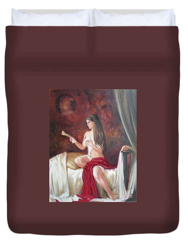 Ignatenko Duvet Cover featuring the painting Heir by Sergey Ignatenko