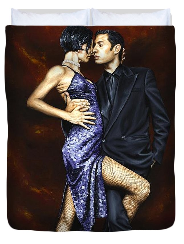 Tango Dancers Love Passion Female Male Woman Man Dance Duvet Cover featuring the painting Held In Tango by Richard Young