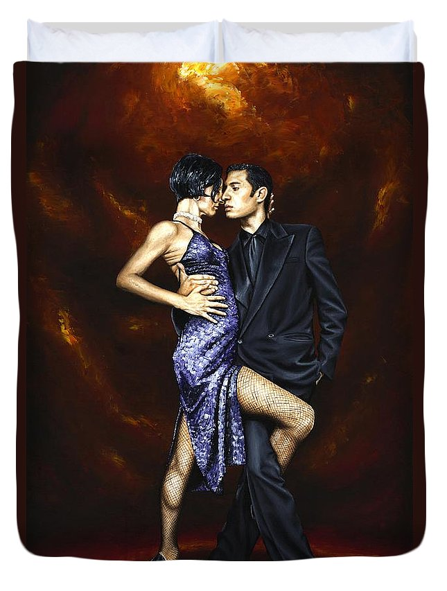Tango Duvet Cover featuring the painting Held in Tango by Richard Young