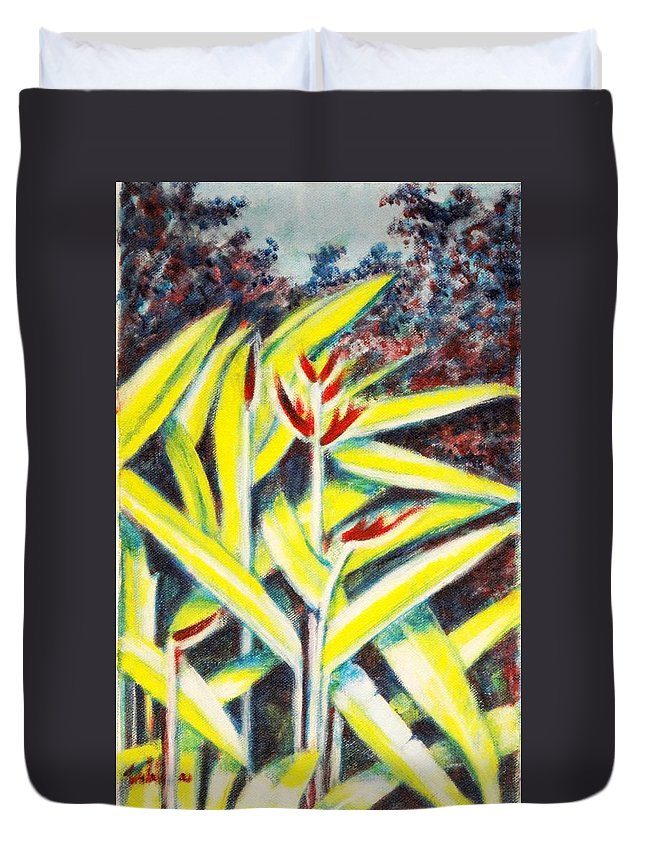 Heliconia Duvet Cover featuring the painting Heliconia 2 by Usha Shantharam