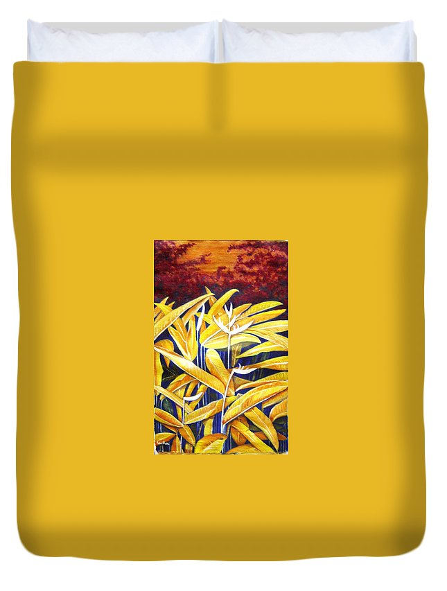Heliconia Duvet Cover featuring the painting Heliconia by Usha Shantharam