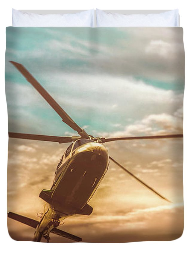 Aviation Duvet Cover featuring the photograph Helicopter by Bob Orsillo