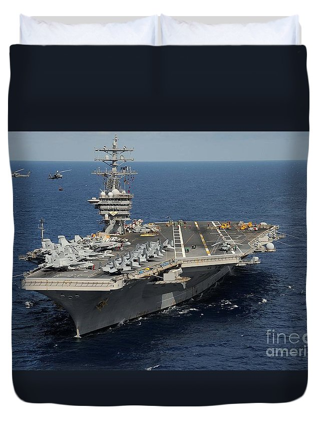 Helicopter's Approaches The Flight Deck Of Uss George H.w. Bush Duvet Cover featuring the painting Helicopter's Approaches The Flight Deck by Celestial Images