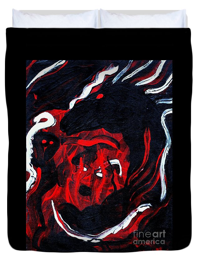 Horse Woman Red Black Silver Duvet Cover featuring the painting Hell Beast by Dawn Downour