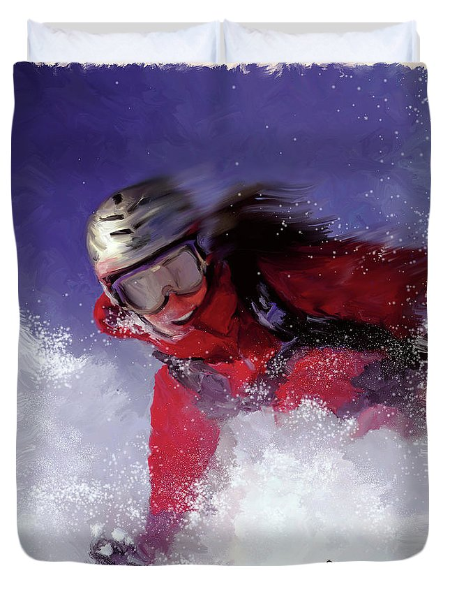 Ski Duvet Cover featuring the painting Hell Bent For Powder by Colleen Taylor