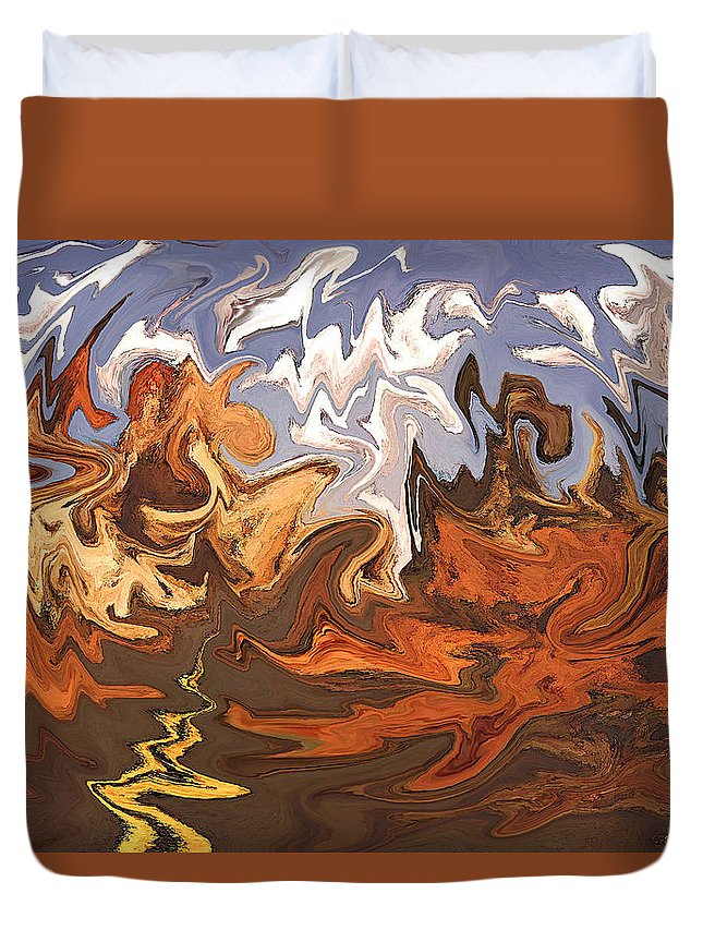 Weather Duvet Cover featuring the painting Heavy Weather News - Abstract Modern Art by Peter Potter