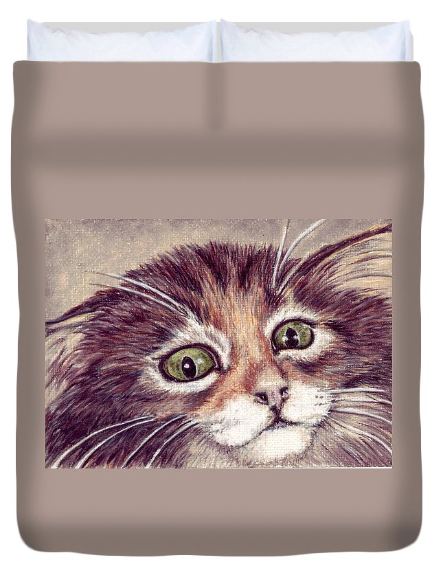 Cat Duvet Cover featuring the drawing Hello Clarice by Kristen Wesch