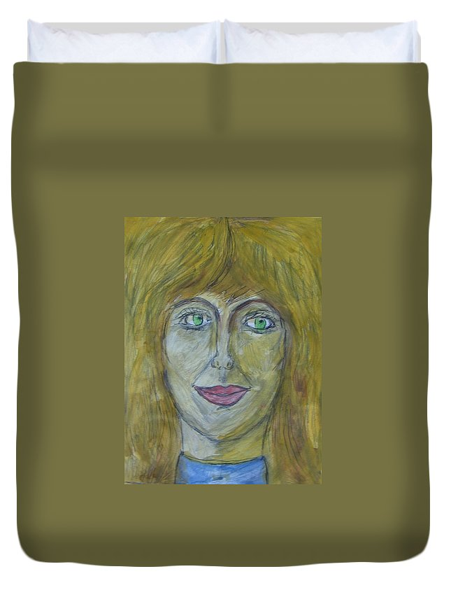 Abstract Duvet Cover featuring the painting Hello Mary Lou by Judith Redman