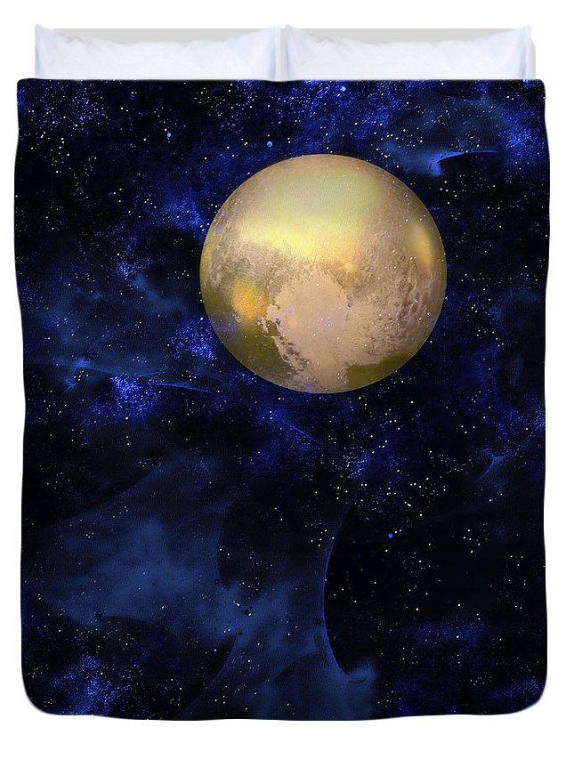 Pluto Duvet Cover featuring the digital art Hello Pluto by Klara Acel