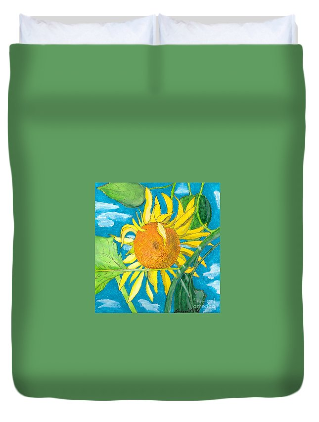 Sunflower Duvet Cover featuring the painting Hello Sunshine by Teresa White