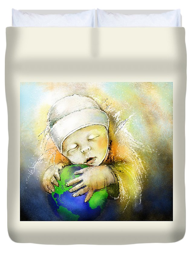 Baby Duvet Cover featuring the painting Hello World by Miki De Goodaboom