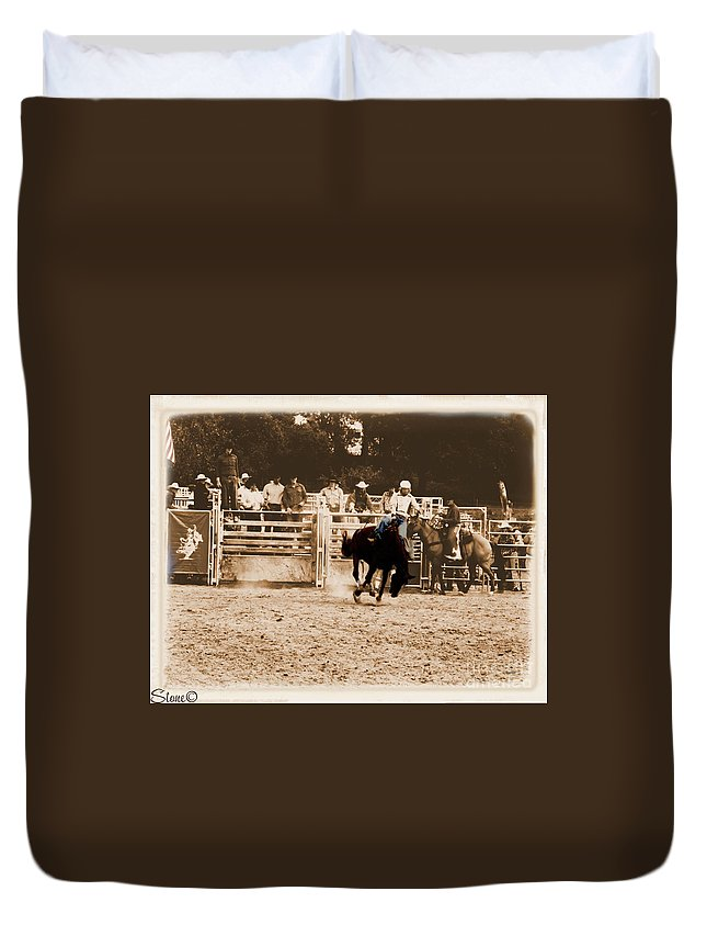 Sepia Duvet Cover featuring the photograph Helluva Rodeo-the Ride 2 by September Stone