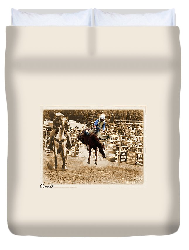 Sepia Duvet Cover featuring the photograph Helluva Rodeo-the Ride 5 by September Stone