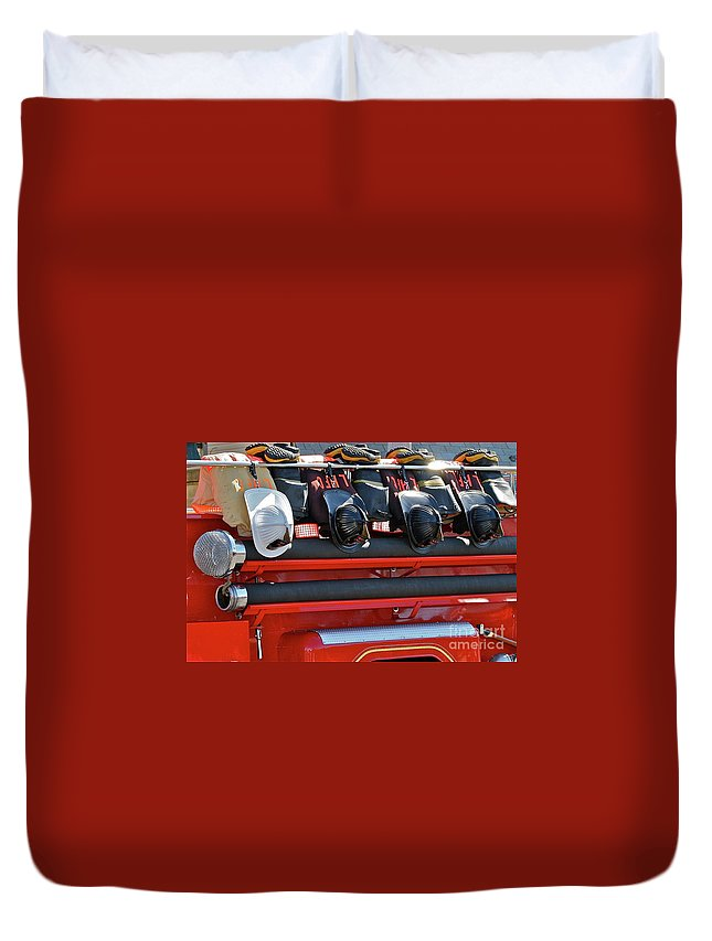 Fire Truck Duvet Cover featuring the photograph Helmets by Rick Monyahan