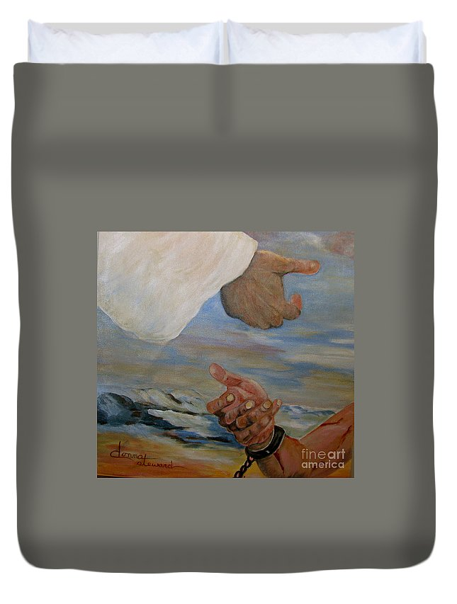 Religious Duvet Cover featuring the painting Help Me by Donna Steward
