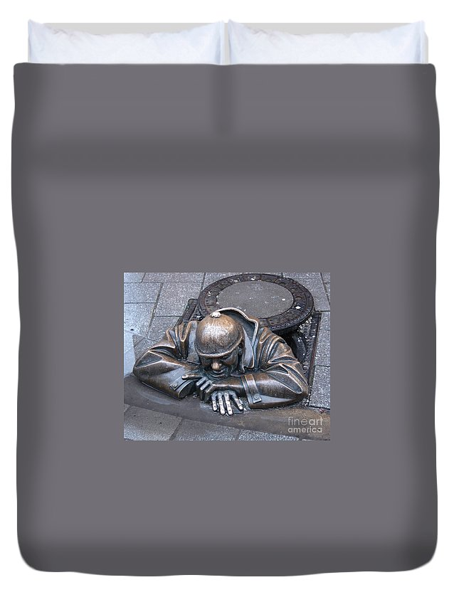 Man Duvet Cover featuring the photograph Help Me Out by Mary Rogers