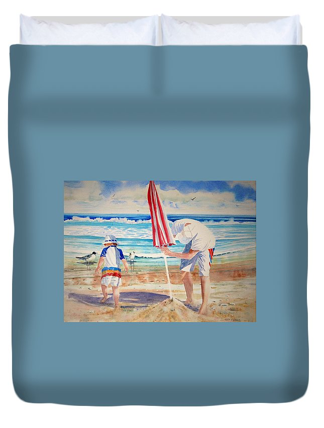Beach Duvet Cover featuring the painting Helping Dad Set Up The Camp by Tom Harris