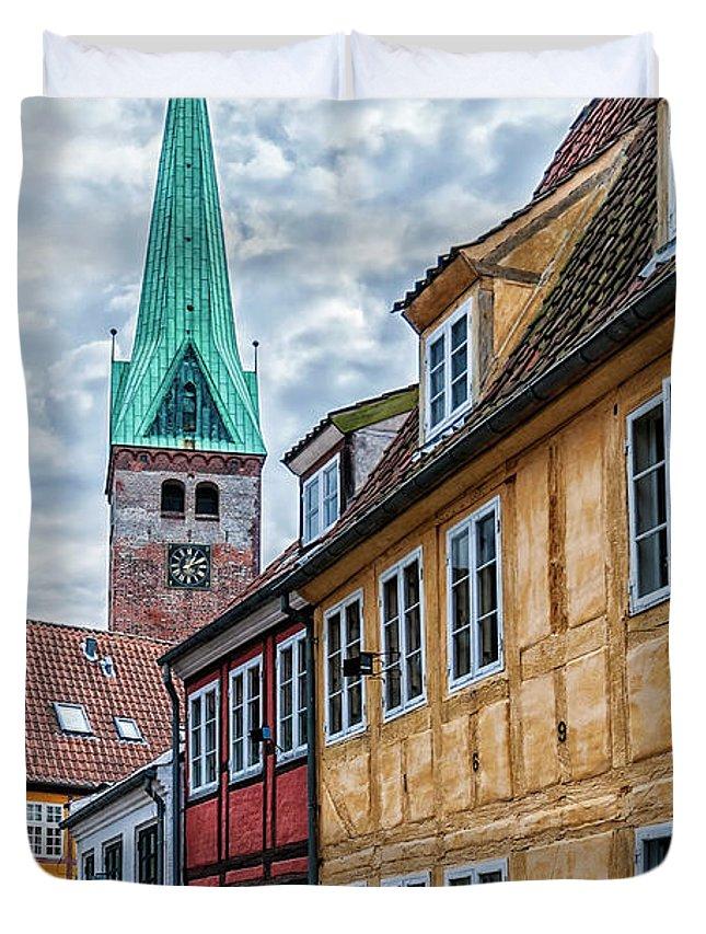 Denmark Duvet Cover featuring the photograph Helsingor Old Street by Antony McAulay