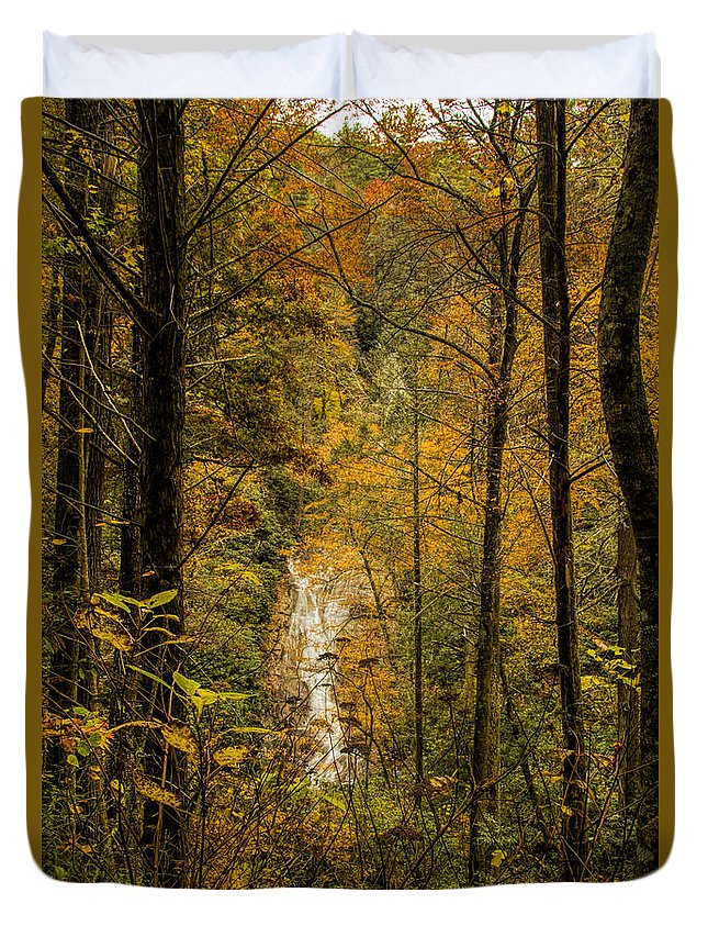 Helton Falls Duvet Cover featuring the photograph Helton Falls Through The Leaves by Barbara Bowen