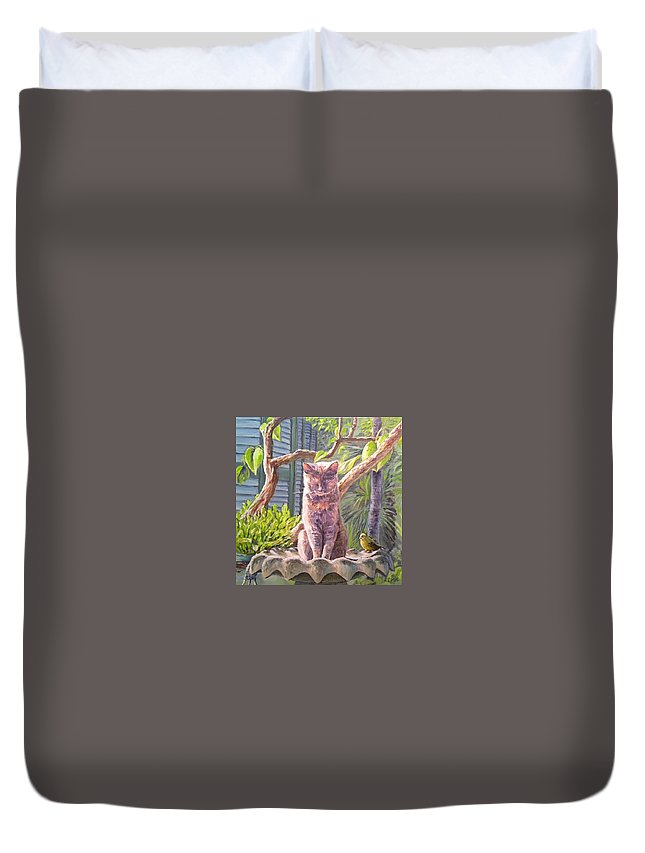 Cat Duvet Cover featuring the painting Hemingway Cat by Paul Emig