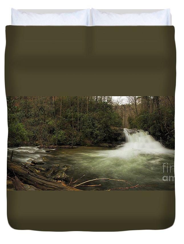 Hemlock Falls Duvet Cover featuring the photograph Hemlock Falls by Barbara Bowen