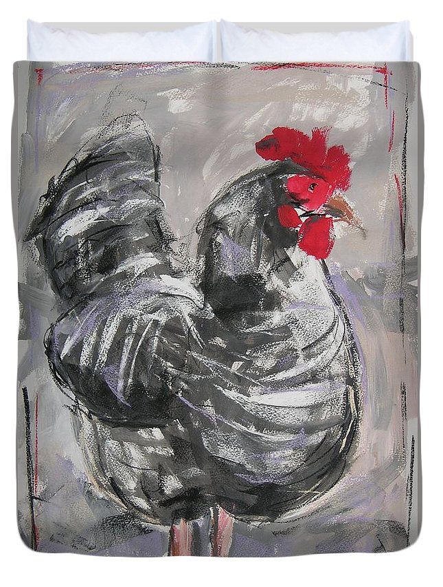 Hen Duvet Cover featuring the painting Hen II by Mary McInnis